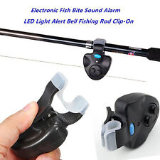 Black Electronic LED Light Fish Bite Sound Alarm Bell Clip On Fishing Rod New#DP