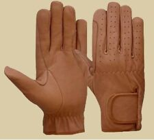 Horse Riding Gloves Mens All Leather Tan & Black Premium Quality New