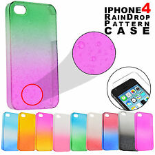 Tempered Glass Screen Protector & 3D Raindrop Pattern Case for Apple iPhone 4 4s