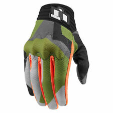 Icon Mens Green Camo Leather/Textile Mesh Anthem Deployed Motorcycle Gloves