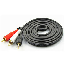 3m 10FT 3.5mm Stereo Audio Plug to 2 RCA Cable Male to male Gold plated NEW