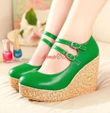 Womens strap buckle Wedge High Heels Platform Round Toes Pumps Shoes plus size