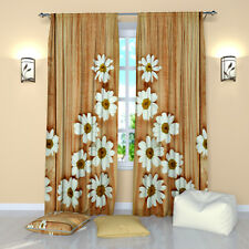 """Camomile Symmetry Floral Window Curtains Panel (Set of 2), Polyester, 84"""""""