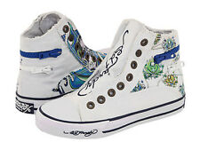 Ed Hardy Atlanta Highrise Fashion Sneaker Shoes for Kids Canvas Slip-on White