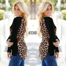 Hot Womens Leopard Print Long Sleeve Patchwork Casual Loose T-shirt Tops Blouse