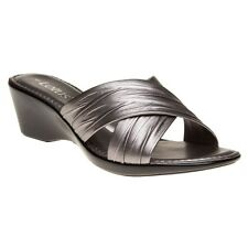 New Womens Lotus Grey Metallic Mercia Synthetic Sandals Wedge Slip On