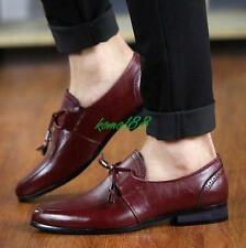 fashion Tassel Mens Block Heel Formal Wedding Low Top Shoes Slip On loafer point