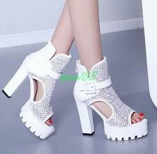 summer Womens chunky High heels Pumps peep toe platform shoes prom party sandals