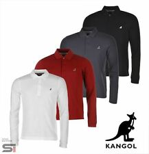 New Mens Branded Kangol 3 Button Brit Long Sleeve Polo Shirt Top Size S-XXL