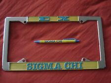 SIGMA CHI New 5 Chrome License Plate Frames & 25 Pens