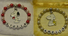 Handmade Personalised Snoopy Inspired Bracelets.Great Gift