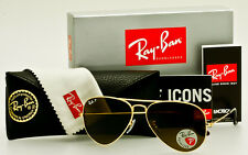 RAY-BAN AVIATOR Gold-Brown Classic B-15 Polarized RB3025 001/57 58mm *AUTHENTIC*