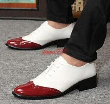 Classic Mens Lace Up Wing Tip brogue Patent Leather Oxfords Dress Formal Shoes