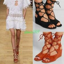 Womens Gladiator Sandals roman shoes suede Strappy mid calf Lace Up Wedge Boots