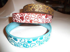 """Sparkly Glitter Hearts Dog Collar Red Blue Gold  Leather 19"""" large LOVE"""