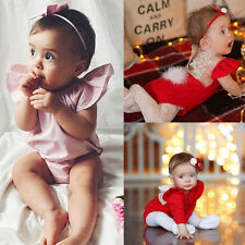 Summer Baby Girls Ruffled Sleeves Lace Back Jumpsuit Bodysuit Romper Red & Pink