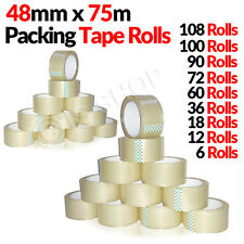 Sealing Shipping Box Carton Roll Packing Sticky Tape 48mm x 75m 108 60 12 PCS