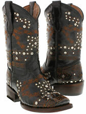 Kids Girls Youth Black Studded Leather Western Cowboy Cowgirl Rodeo Boots
