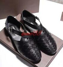 fashion Mens strappy flat sandals leather buckle knitted dress formal shoes blac