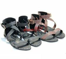 Fashion Mens strappy flat sandals leather buckle roman shoes summer