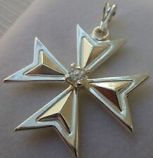 Sterling Silver Maltese Cross pendant with stone Knights of Malta Cross