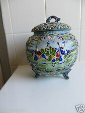 "Antique Japanese Moriage Enamel Meiji Period Vase/Jar  1800-1900s.  8.25"" x10.5"""