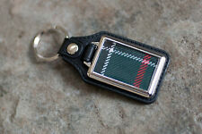 Leather keyring with choice of genuine pure new wool clan TARTAN - lovely gift!