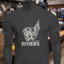 LUCKY RIDERS RACING SKULL WINGED BIKER RACER FAST Mens Charcoal T-Shirt