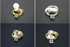 Mixed Lots 25PCS Stainless steel Big CZ Silver/Gold Band 2pcs in 1 Lover Rings