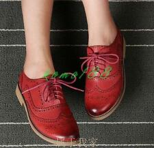 Preppy girl Retro Womens Leather Brogues Oxfords Wingtip Lace Up Carved Shoes