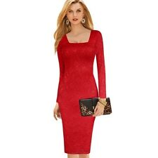 Women Red Color Lace Pencil Elegant Square Neck Fitted Casual Slim Dress