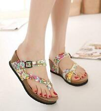 Summer Womens Shoes thongs Sandals Wedge Heels Buckle Flip Flops Slippers Flower