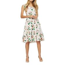 Spring Fashion Floral Print Square Collar Sleeveless Party Wear Dress for Women