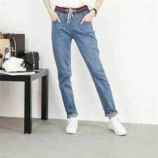Women Jeans Light Blue Large Size Mid Waist Stretch Slim Elastic Waist Jeans