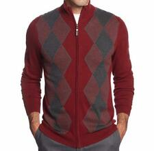 TASSO ELBA Full-Zip Argyle Sweater Port Combo Mock Neck Men's Cardigan L