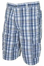 DOCKERS NWT MENS BLUE PLAID PRINT CARGO SHORTS: SIZE 32-42