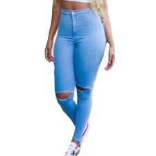Women Spring Skinny Knee Hole Stretched Vintage Denim Ripped Jeans