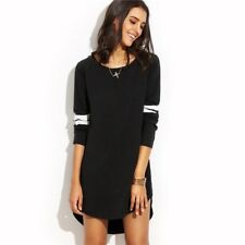 Women Black Color With White Striped Round Neck Long Sleeve Casual Short Dress