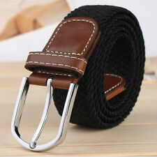 Men Ladies Braided Canvas Woven Waist Belt Cotton Elastic Leather Pin Buckle New