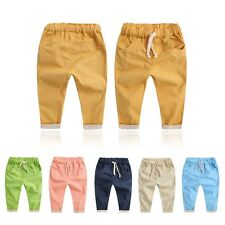 Toddler Kid Boy Girl Trousers Baby Cotton Soft Solid Trousers Harem Pants Summer