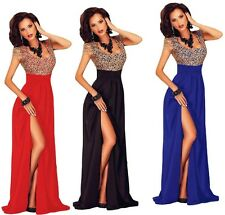 Women's Gold Lace Sequin Top Slit Maxi Formal Prom Ball Party Gown Evening Long
