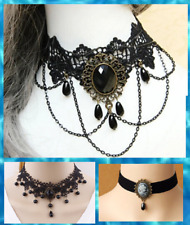 Gothic Lace 2 Designs Choker Victorian Cameo Bead Collar Retro Necklace UK Sell