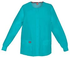Scrubs Dickies Snap Front Warm-Up Jacket 86306 TLWZ Teal Blue Free Shipping
