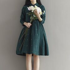 Autumn Long-Sleeved Slim Fit Green Color Casual Women Dress AK374