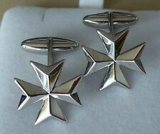 925 Sterling Silver Maltese Cross Solid Cufflinks Classic Style large size