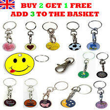 New Supermarket Shopping Trolley Token £1Coin Keyring Locker Gym Pound Keychain