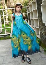 Summer Bohemian Long Bow Off the Shoulder Peacock Print Elegant Causal Dress