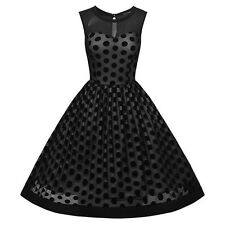 Summer Wear Black Color Polka Dots Sleeveless O-neck Dress For Women