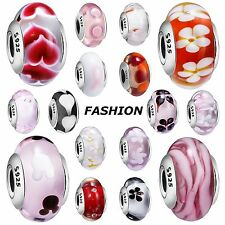 Fashion Design Glass Bead Silver Charms Jewelry For 925 Sterling Bracelets Chain