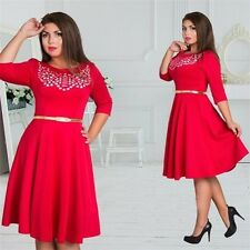 Autumn Fashion O Neck Casual Wear Knee Length Plus Size Cotton Dress For Women